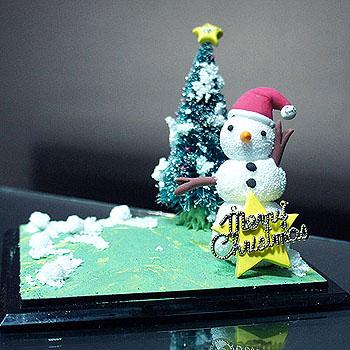 聖誕雪人單人公仔場景(含防塵框)